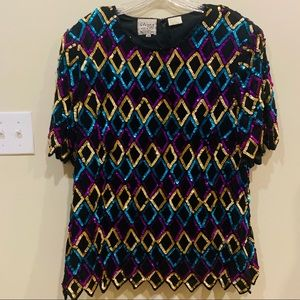 Vintage Stenay Harlequin Sequin Blouse 2x